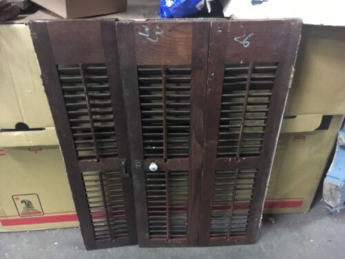 "Set of VICTORIAN chestnut INTERIOR window shutters OLD varnish 33"" h x 26"" w ~ B"