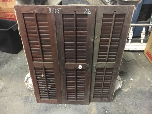 "Set of VICTORIAN chestnut INTERIOR window shutters OLD varnish 31.75"" h x 26""w B"