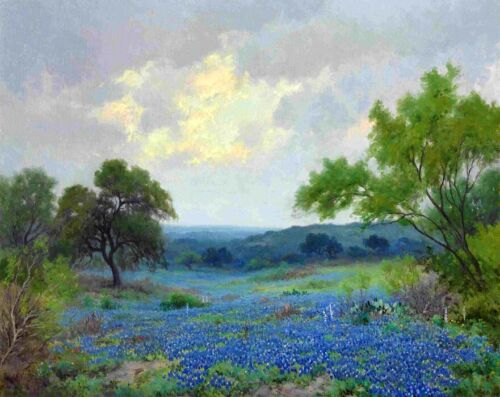 Texas Bluebonnets Landscape Oil painting Giclee Art Printed on canvas L2066