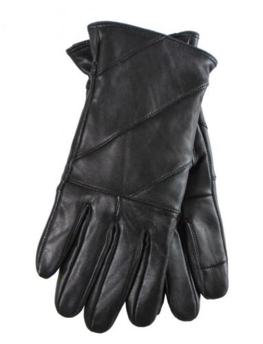 Guantes Mujer Piel elegantes forro interior color negro leather women gloves