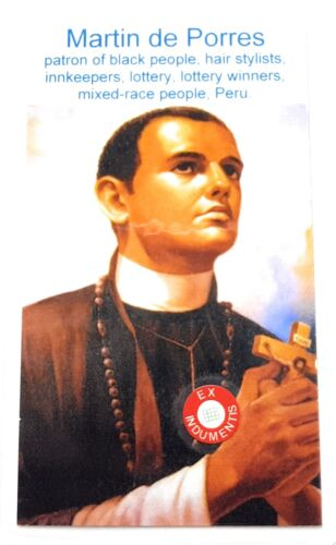 Saint Martin de Porres relic card for black people, hair stylists, innkeepers