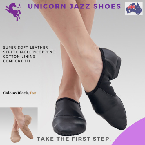 Unicorn Super Leather Jazz dance shoes child and adult Tan and Black