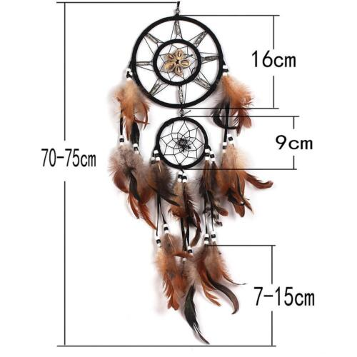 Brown Dream Catcher With Feathers Wall Hanging Decoration Decor Bead Ornamen