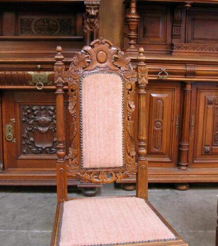 Pair of Antique Carved French Hunt Side Chairs