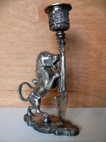 ANTIQUE LION ON BALL STATUE WITH SHIELD SILVER PLATE CANDLE STICK