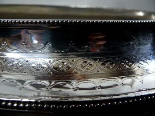 ANTIQUE SILVER FOOTED SERVING DISH BOWL COMPORT DECORATIVE ENGRAVED K & CO