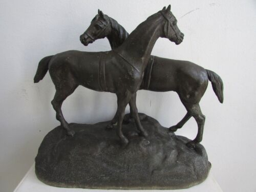 ANTIQUE CAST METAL HORSES STATUE SPELTER  SCULPTURE