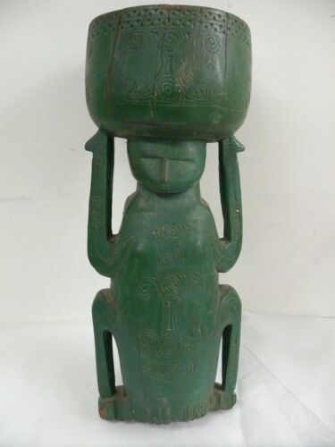 ANTIQUE TROBRIAND ISLAND PNG BETEL NUT BOWL MUSEUM COLLECTORS STATUE RELIC