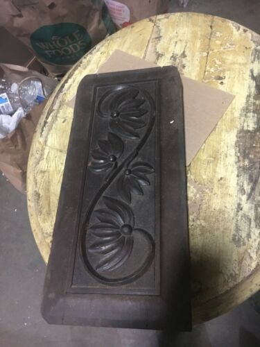 """circa 1880 Victorian gingerbread style mahogany carved panel floral design 14x6"""""""