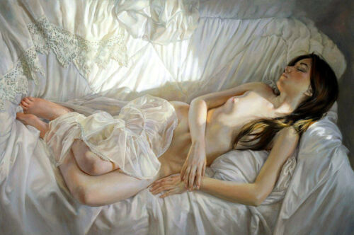 Beautiful nude girl oil Painting Giclee Art Printed on canvas L2245