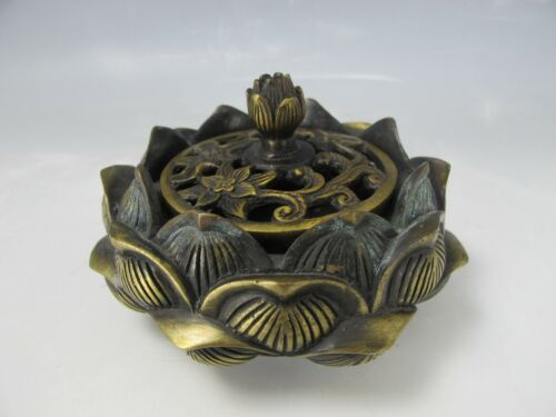 A Chinese Antique Style Lotus Shape Bronze Censer