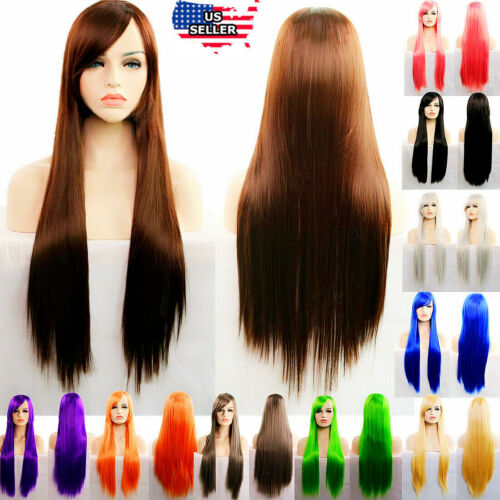 "31"" Long Straight Fashion Cosplay Costume Party Hair Anime Wigs Full Hair Wig"