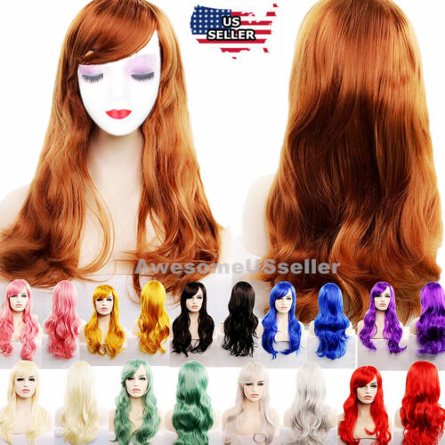 "27"" Long Curly Fashion Cosplay Costume Party Hair Anime Wigs Wavy Wig Full Hair"