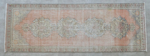 "MUTED COLORS Hand Knotted Turkish Oushak Runner Rug Distressed Rug 2'11"" x 8'5"""