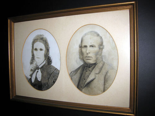 RARE ANTIQUE / LATE 19TH CENTURY / TWO PORTRAITS ON MILK GLASS