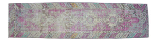 """Faded Hand Knotted Wool Turkish Oushak Runner Rug Distressed Rug 2'10"""" x 11'1"""""""