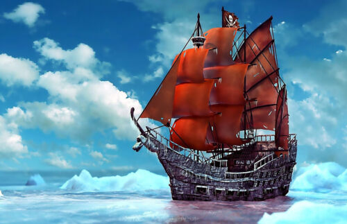 Pirate Ship picture paintings Giclee Art Printed on canvas L2277