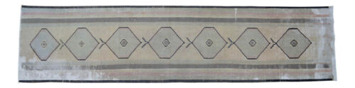 """MUTED COLOR Vintage HandKnotted Contemporary Runner Rug Distressed Rug 30 x 126"""""""