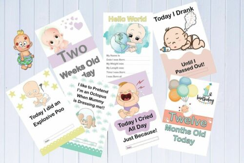 Alternative Baby Milestone Cards Pack of 33 Funny Milestones Unisex Baby Gift
