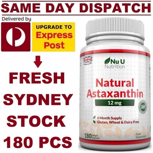 Nu Nutrition Astaxanthin 12mg 180 Softgels MAXIMUM Strength MEGA VALUE AU STOCK! <br/> ✅ 100% Natural Astax ✅ PREMIUM Grade ✅ FAST Absorption