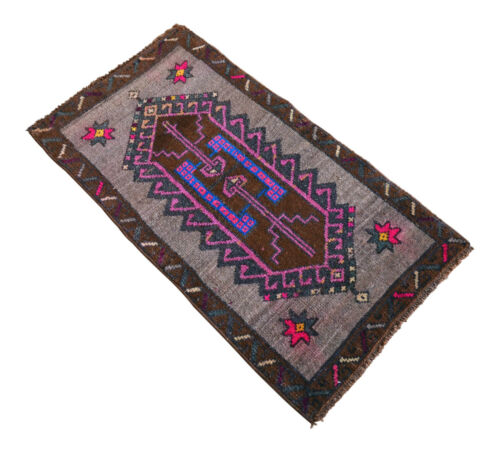 "1'6"" x 2'9"" Distressed Small Area Rug Hand Knotted Kurdish Rug Yastik 46 x 85 cm"