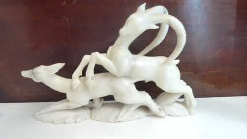 ANTIQUE CARVED  MARBLE ART DECO STATUE LEAPING GAZELLE ANTELOPE DEER FIGURINE