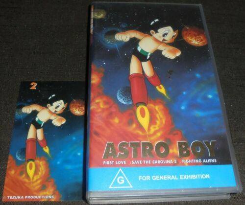ASTRO BOY VOLUME 2 RARE VHS VIDEO TAPE WITH COLLECTABLE STICKER 3 EPISODES