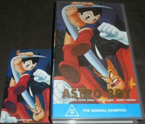 ASTRO BOY VOLUME 5 RARE VHS VIDEO TAPE WITH COLLECTABLE STICKER 3 EPISODES