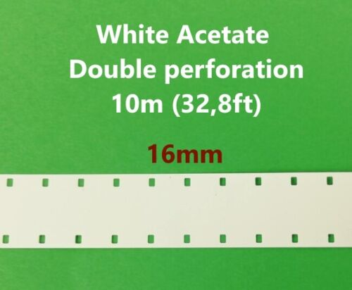 16mm film Leader white acetate - Double Perforation - 10 meters (32,8 ft)