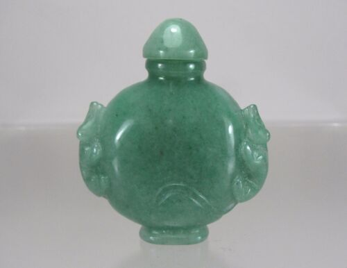 Chinese Carved Apple Green Jadeite Jade Snuff Bottle,  Qianlong Period