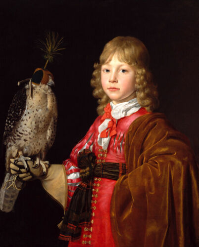 Portrait of falcon boy Oil painting picture Canvas Giclee Wall Art Print L2355