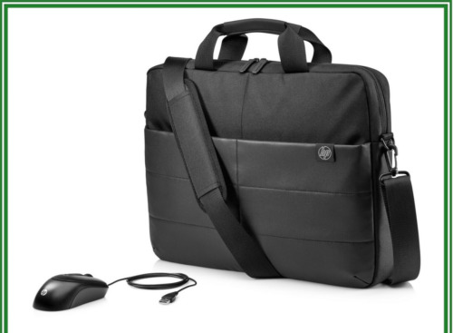 "HP 1FK06AA 13.3"" 14"" 15.6"" Classic Briefcase Carry Laptop Bag and Optical Mouse"