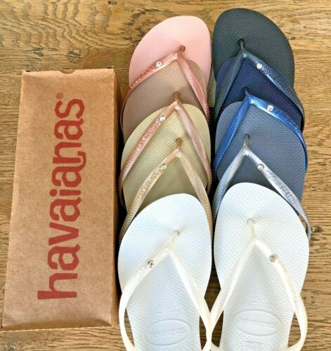 ORIGINAL Havaianas Slim Crystal Flip Flops Women Sandals 11 Colours Summer 2020 <br/> BARGAIN! NEXT DAY DELIVERY*! UK Supplier! New with Box