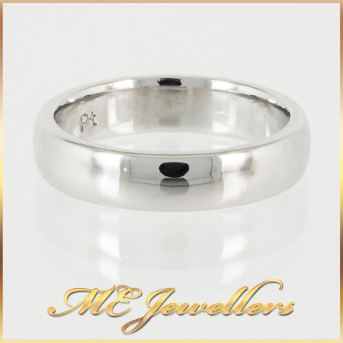 Unisex Platinum 750 Solid 5mm Wide Wedding Ring Band or Finger Ring Size P/ 7.5