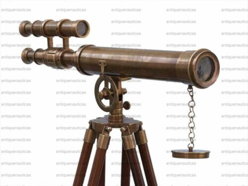 Nautical Antique Telescope Floor Standing Brass Griffith With Wooden Tripod