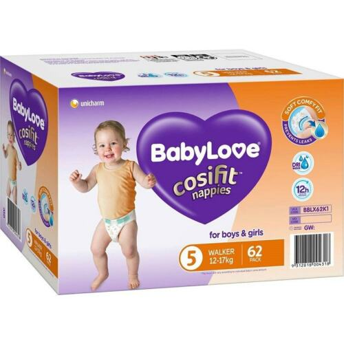 BabyLove Cosifit Nappies Walker (12-17kg) X 66 (Limit 2 boxes per order)
