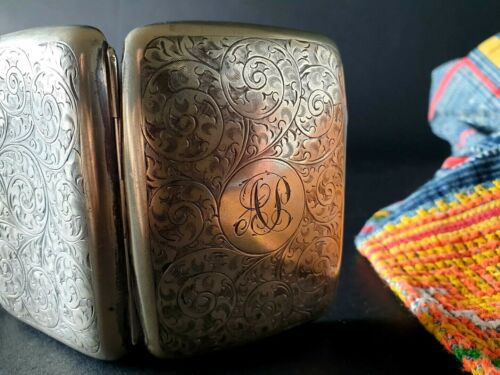 Old English Hallmarked Silver-Plated Small Cigarette Case  …beautiful collection