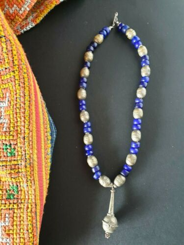 Old Tibetan Blue Glass Beads & Local Silver Choker Necklace …beautiful accent..i
