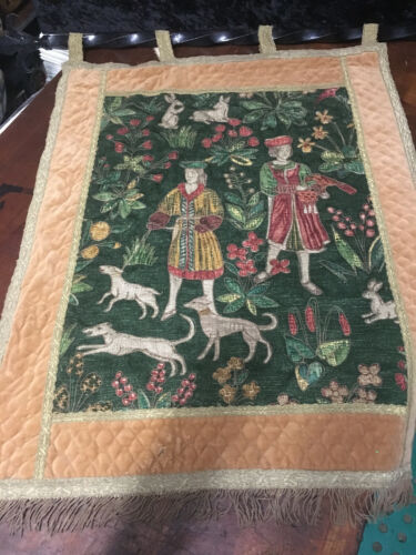 Antique Wall Hanging Tapestry French Hunting Scene Falcon,Dog's, Rabbits