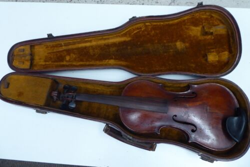 ANTIQUE SCHWEITZER WOODEN VIOLIN ORIGINAL LEATHER CASE OLD ESTATE PIECE