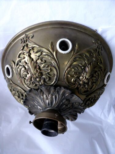 ANTIQUE BRASS ORNATE CEILING LIGHT FITTING CHANDELIER FRENCH EUROPEAN STYLE