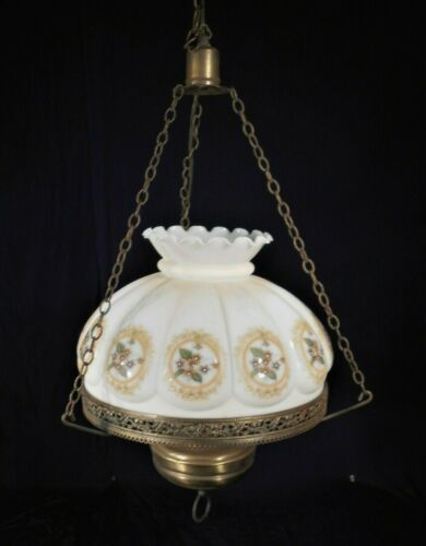 VINTAGE MID CENTURY VICTORIAN STYLE HANGING CHANDELIER WITH HAND PAINTED SHADE