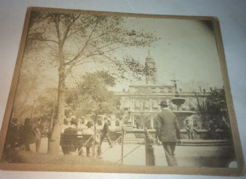 Rare Antique Victorian American Cityscape New York City Hall Cabinet Photo! 1897
