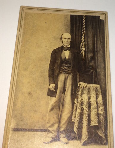 Antique Victorian American Fashion Bald Gentleman Leaning on Table! OH CDV Photo