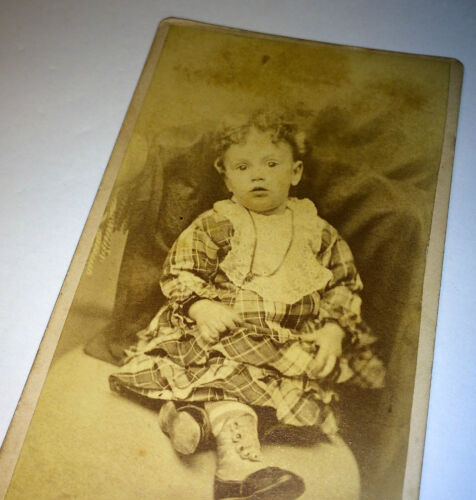 Antique Victorian Child - Beautiful Curly Hair - Fashion, Necklace! CDV Photo!