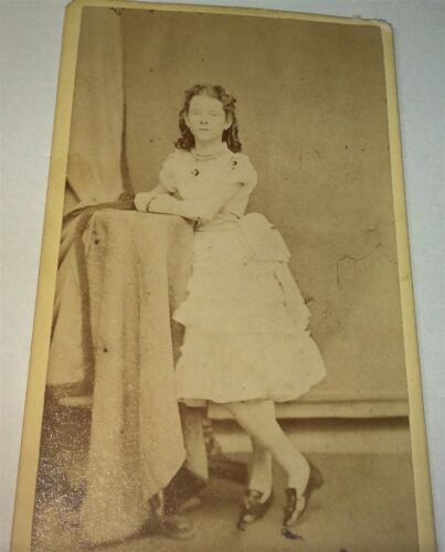 Antique Victorian American Sleeveless Fashion Girl! Long Island, NY CDV Photo!