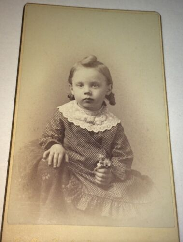 Antique Victorian American Adorable Child Little Flowers! Hinsdale, NH CDV Photo