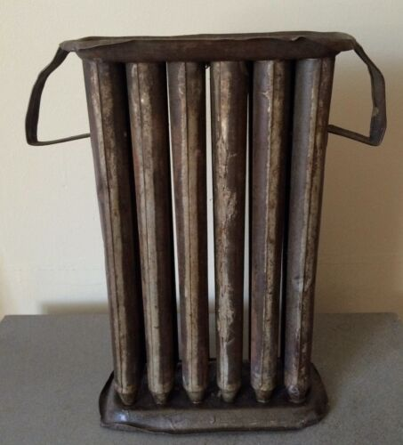"Antique Primitive Handmade Tin 12 Taper Candle Wax Mold 2 Handles 10 5/8"" Tall"