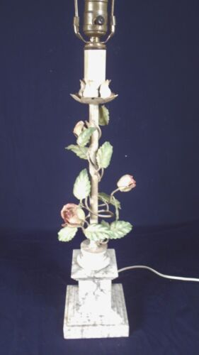 VINTAGE MID CENTURY ITALIAN PAINTED FLORAL TOLE LAMP ON A MARBLE BASE