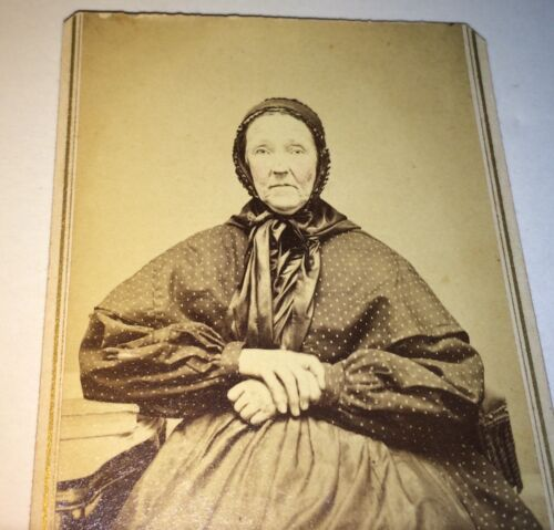Antique Victorian American Old Woman, Fantastic Fashion Dress! PA CDV Photo! USA